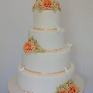 Peach Roses, Hydrangeas & Butterfly Wedding Cake