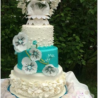 Teal and white Wedding - Cake by Sabrina - White's Custom Cakes