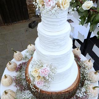 White Ruffle & Rose Wedding Cake