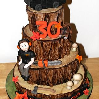 Wood effect tiered cake- for a tree surgeon