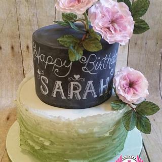 Chalkboard,  Roses, & Frills Cake