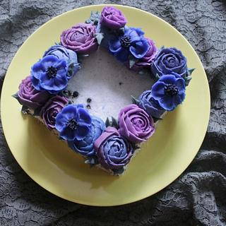 purple flower cake - Cake by fantasticake by mihyun