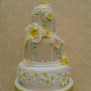 Lemon Tea Rose Bird cage Wedding cake