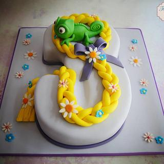 Tangled theme number 3 cake