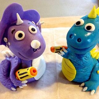 Dinosaur nerf battle cake