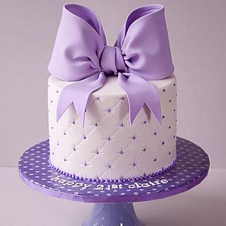 21st Purple Bow Cake