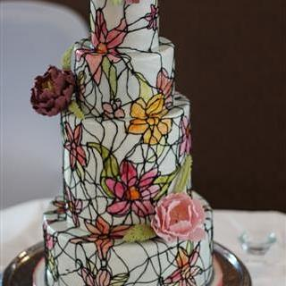 Stained Glass Wedding Cake with Sugar Peonies