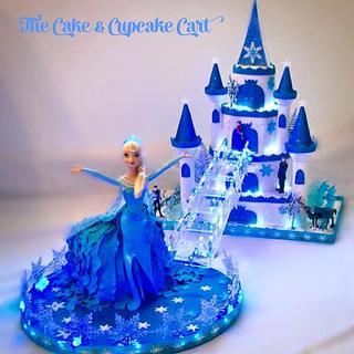 Frozen Style Castle & Doll Cake