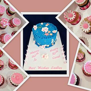 Ladies Birthday Cake & cupcakes