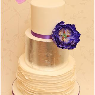 Silver leaf and open peony wedding cake - Cake by CakesWorth