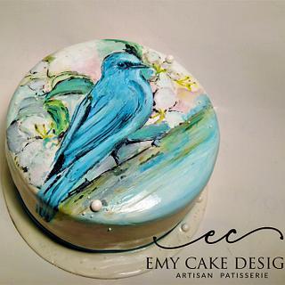Blue Bird Pianted Cake