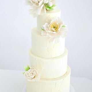 Wedding cake with peonies