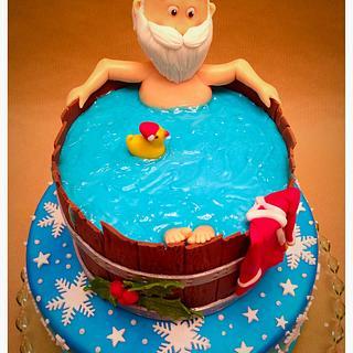 Santa taking a Break in bathtub