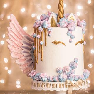 Unicorn Drip Cake with Meringue Wings