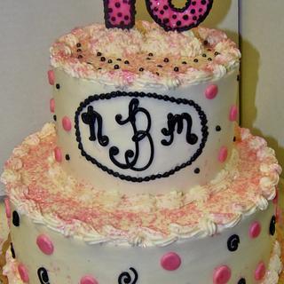 Buttercream Sweet 16 cake