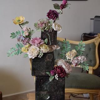 Offset cubes in bloom - Cake by Art Sucré by Mounia