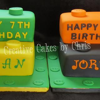 Lego Cakes for Twin Boys