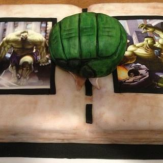 Hulk comic book cake