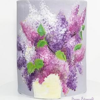 Handpainted Lilacs on Fondant