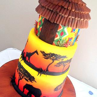 African sunrise wedding cake