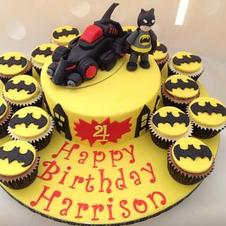 Batman birthday cake with cupcakes
