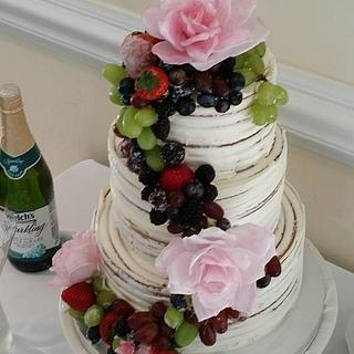 Semi Naked Wedding Cake with Wafer Paper Roses