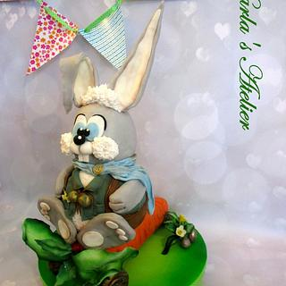 Fondant Cake Topper Sweet Easter Collaboration - The Easter Bunny brengs the eggs...