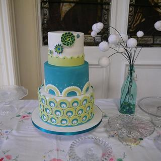 Turquoise and green wedding cake - Cake by Laura Galloway