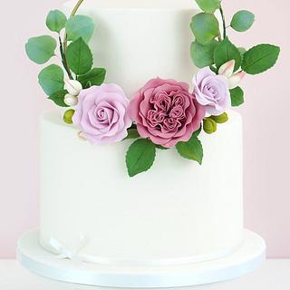 Gumpaste Flower Hoop Cake