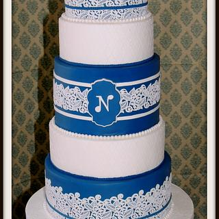 Navy lace - Cake by Barb's Baking Blog