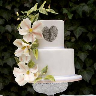 Wedding cake with clematis