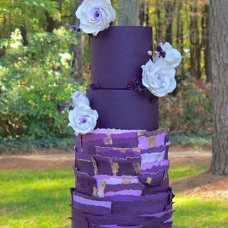 Purple Torn Paper Wedding Cake