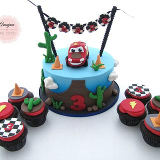 Cars theme Cake and Cupcakes