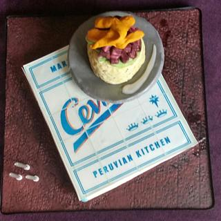 ceviche cookbook and food cake