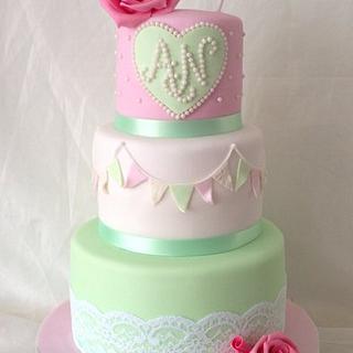Bunting vintage wedding cake
