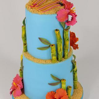 Hawaiian theme wedding cake