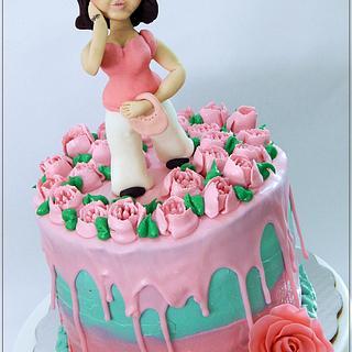 Woman walking among roses - Cake by Alondra Aguilar