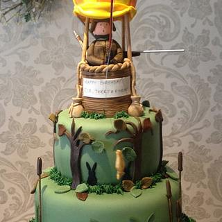 Hunting by hot air balloon cake