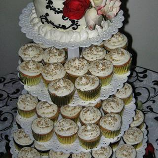Wedding cupcakes, & top tier cake. Gold, black & burgundy. - Cake by Nancys Fancys Cakes & Catering (Nancy Goolsby)
