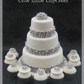 Silver Ball Trimmed Wedding Cake