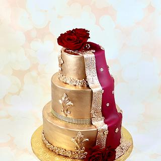 Gold Indian dupatta cake - Cake by soods
