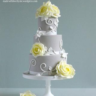 Yellow Roses and Swirls Cake