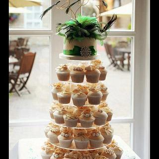 Cream and emerald green cupcake tower