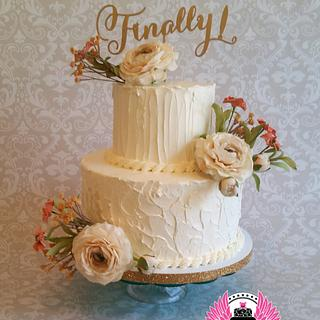 Finally!   Textured Buttercream Wedding Cake