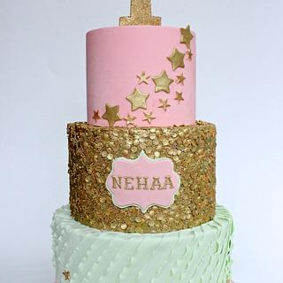 Mint green, Peach and Golden themed cake