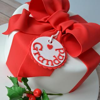 Red bow Christmas cake