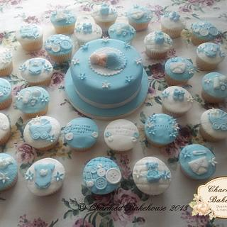 Christening cake & cupcakes - Cake by Charmed Bakehouse