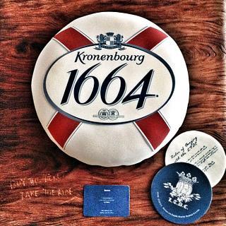 Kronenburg 1664 beer cap cake for L.T.D.C.  - Cake by Heidi