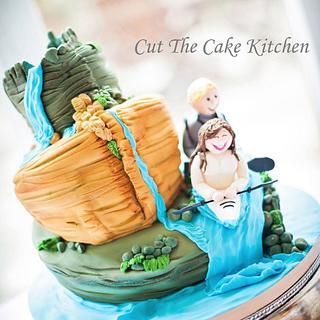 Kayaking Couple Wedding Cake - Cake by Emma Lake - Cut The Cake Kitchen