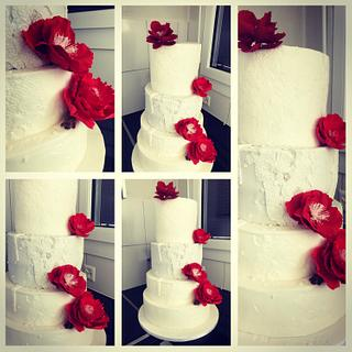 Red & white Wedding  - Cake by valentimssweets